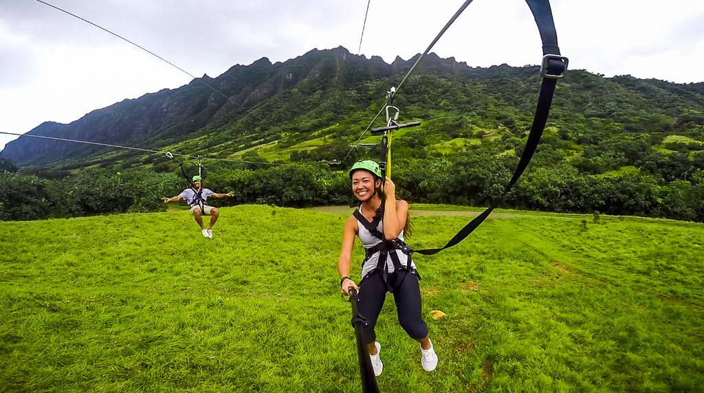 Kualoa Ranch Zip Line Selfie