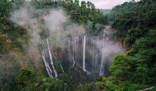 TUMPAK SEWU WATERFALL IN LUMAJANG, EAST JAVA