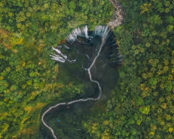 TUMPAK SEWU WATERFALL IN LUMAJANG, EAST JAVA